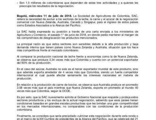 La SAC reitera solicitud al Gobierno de Colombia para que excluya la leche, la carne y el azúcar […]