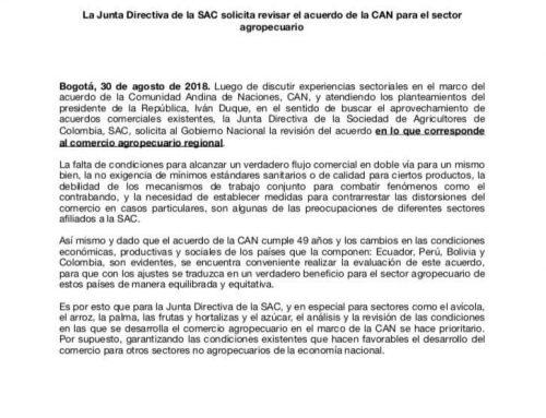 La Junta Directiva de la SAC solicita revisar el acuerdo de la CAN para el sector agropecuario