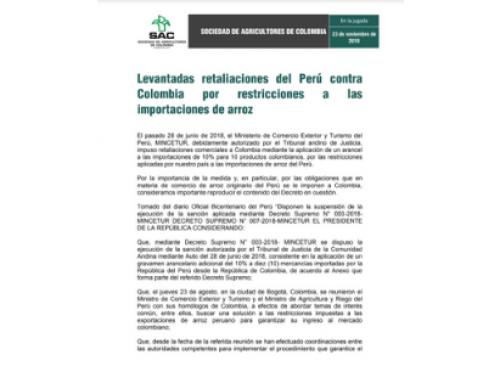 Levantadas retaliaciones del Perú contra Colombia por restricciones a las importaciones […]