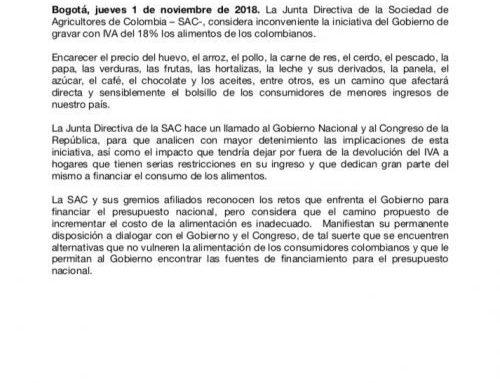 La Junta Directiva de la SAC considera inconveniente gravar con IVA la comida de los colombianos