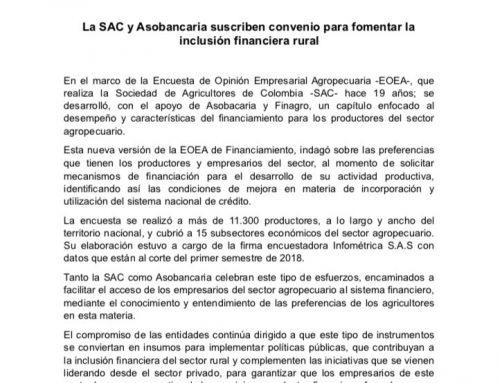 La SAC y Asobancaria suscriben convenio para fomentar la  inclusión financiera rural