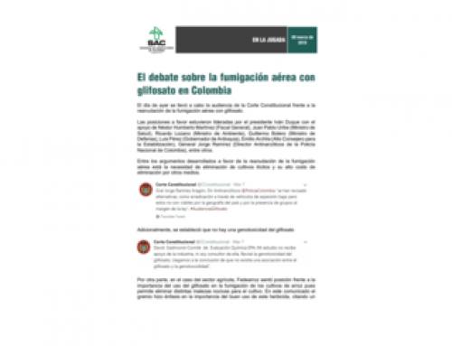 El debate sobre la fumigación aérea con glifosato en Colombia