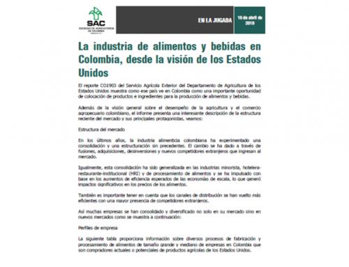 La industria de alimentos y bebidas en Colombia, desde la visión de los Estados Unidos