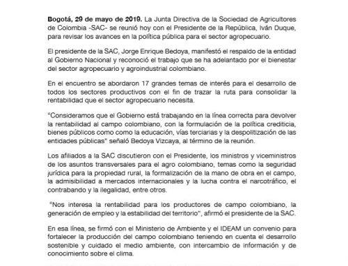 La Junta Directiva de la SAC manifiesta respaldo al Gobierno Nacional y consolida hoja de ruta para el trabajo en la rentabilidad del campo colombiano