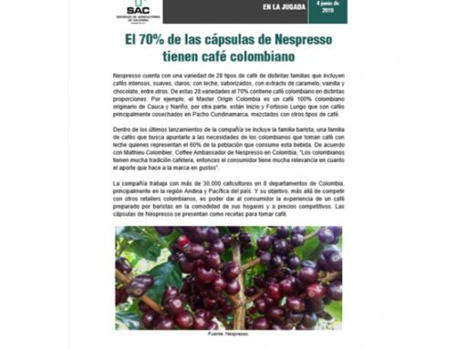 El 70% de las cápsulas de Nespresso tienen café colombiano