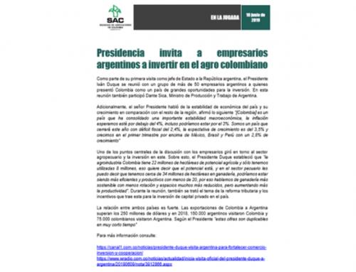 Presidencia invita a empresarios argentinos a invertir en el agro colombiano