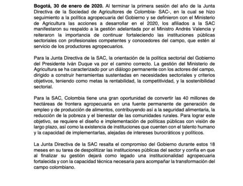 La Junta Directiva de la SAC respalda la gestión del Ministro de Agricultura, Andrés Valencia, y reitera su apoyo a una institucionalidad agropecuaria despolitizada