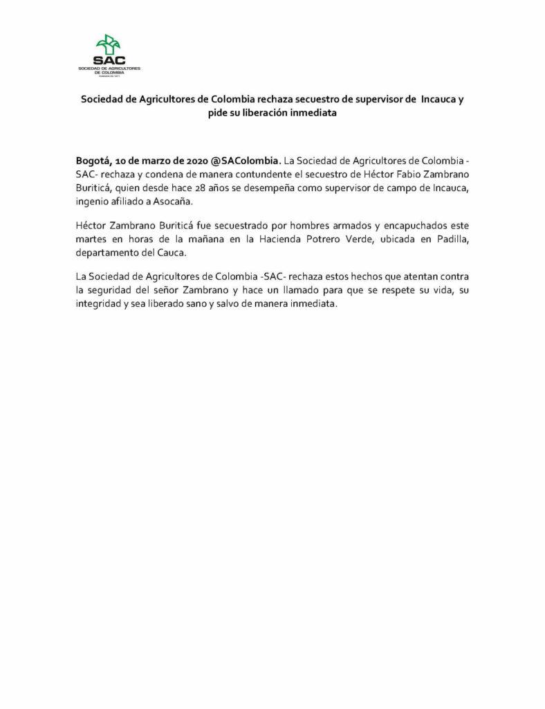 Sociedad de Agricultores de Colombia rechaza secuestro de supervisor de Incauca y pide su liberación inmediata