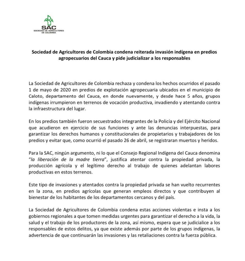 Sociedad de Agricultores de Colombia condena reiterada invasión indígena en predios agropecuarios del Cauca y pide judicializar a los responsables
