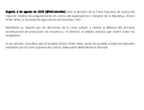 Sociedad de Agricultores de Colombia considera que Senador Álvaro Uribe Vélez debe poder defenderse en libertad