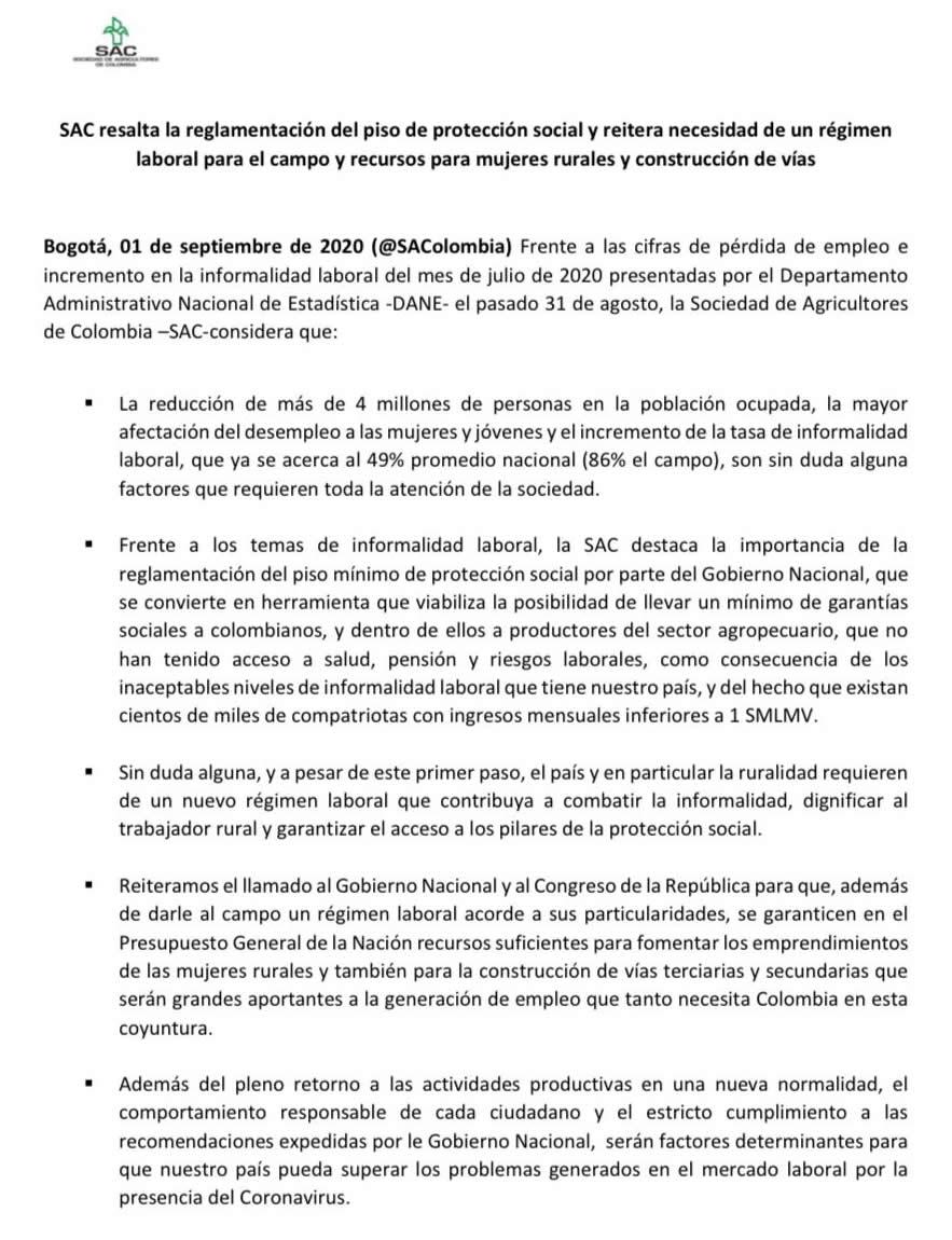 SAC resalta la reglamentación del piso de protección social y reitera necesidad de un régimen laboral para el campo y recursos para mujeres rurales y construcción de vías