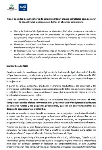 Tigo y Sociedad de Agricultores de Colombia inician alianza estratégica para acelerarla conectividad y apropiación digital en el campo colombiano