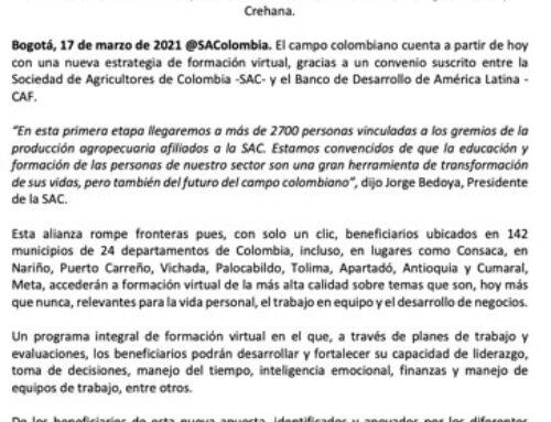 Formación virtual de talla mundial, la nueva apuesta para quienes garantizan la seguridad alimentaria de Colombia